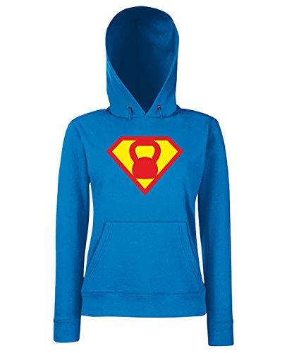 T-Shirtshock - Sweats a capuche Femme T1092 Kettlebell fun cool geek Bleu Royal