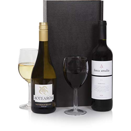 Connoisseur Wine Duo - Two Bottle Mixed Wines Hamper - Italian Chianti Red Wine & NZ Marlborough Sauvignon Blanc White Wine - Luxury Gift Hampers With Wine