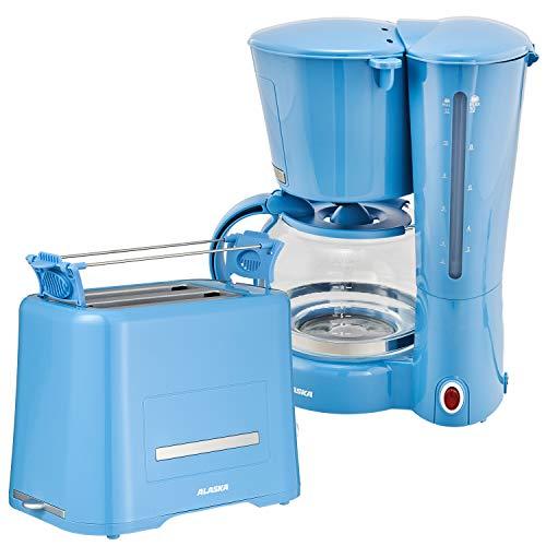 Alaska Frühstücksset 2209 | Blau | 2 in 1 | Kaffeemaschine + Toaster | 1,25 l | Tropfstopp |...