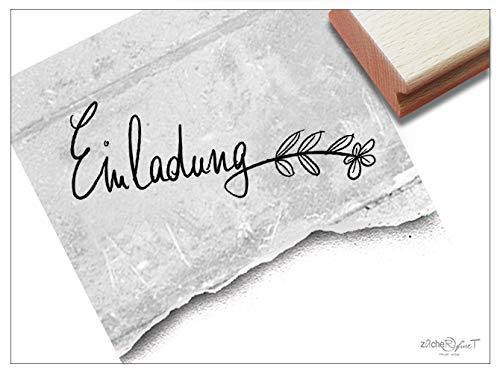 Stempel Textstempel EINLADUNG mit Ranke, in Handschrift - Schriftstempel für Einladungskarten, Geburtstag Hochzeit Einschulung Deko - zAcheR-fineT