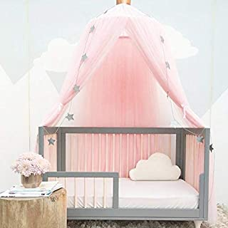 Awhao Mosquito Bed nets with Round Lace Children Dome Fantasy Champion Netting Curtains Play Tent Bed Canopy (Pink)