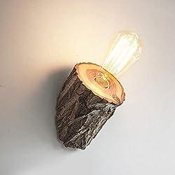 Liunce Creative Edison E27 Tronc D'Arbre Applique Européenne Simplicité Européenne Applique En Bois Américain Chambre Chevet Lanterne Murale Intérieur Nordique Allée Applique Murale pour Ferme Villa L