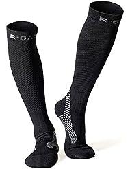 Chaussettes de compression pour running, cyclisme, triathlon, fitness, crossfit et voyages (rembourré, compression, unisexe pour hommes et femmes) (Noir)