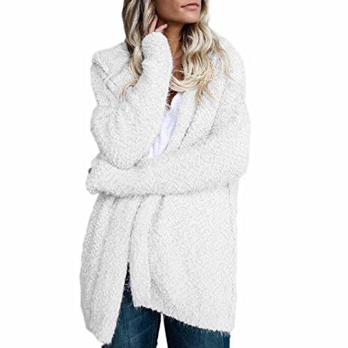 Longra Damen Cardigan Strickjacken Parka mit Kapuzen Damen Standard Sweater Strickmantel Pullover Frauen Knit Kapuzenpullover Kapuzenjacke Outwear Outdoorjacke (XL, White) White Knit Cardigan Pullover