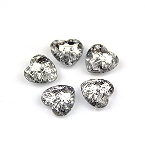 50 x 12mm Silver Plated Acrylic Two Hole Heart Button