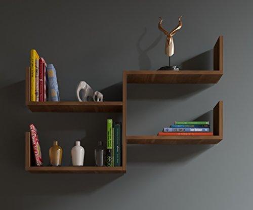 FRESH Étagère murale - étagère à livres pour décoration de salon en bois dans un design moderne (Noyer)