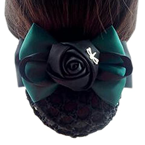 Ladies Flower Elastic Bun Cover Hairnets Hair Snood Bowtie Mesh, 2 Green and Black