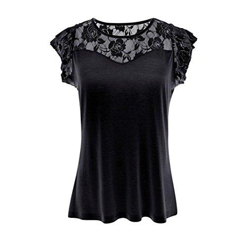 MORCHAN Femmes Casual Solid Patchwork Dentelle Rose T-Shirt Tops Blouse MORCHAN
