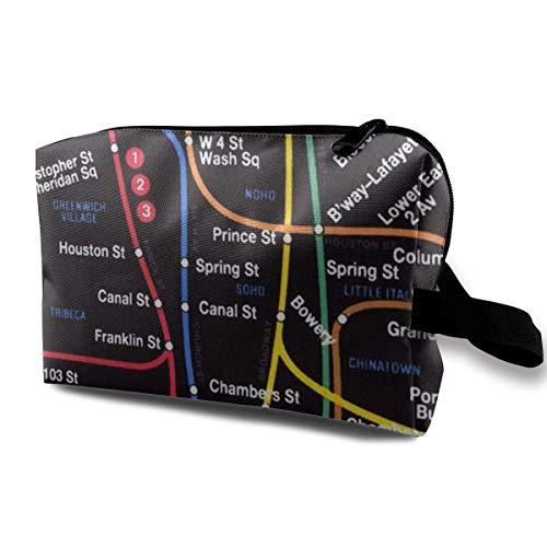 New York City Subway Metro Map Kleine Kosmetiktaschen Reise-Make-up-Tasche Modischer Organisator (York New City Handtaschen)