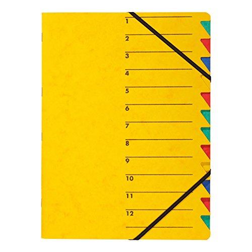 Pagna 24131-05 Ordnungsmappe Easy, Pressspan, A4, 12 Fächer, buntes Register, Einband gelb