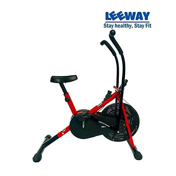 Leeway Air Bike Exercise Cycle| Moving Handle Gym bike For Home Use| Deluxe Design of Fitness| Lifeline for Cardio Work Out| Weight Loss Equipment| Exercise Stamina Bike| Dual Action Cycle- RED