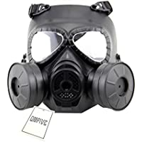 Táctico Máscara QMFIVE Dummy Anti Niebla Máscara de Gas M04 con Doble Ventilador Airsoft paintbal Protección Gear(Negro)