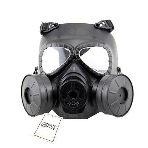 QMFIVE Générique Tactical Airsoft Paintball BB Gun Full Face Protégez le Mascara M04 avec Double Filtre (NOIR)