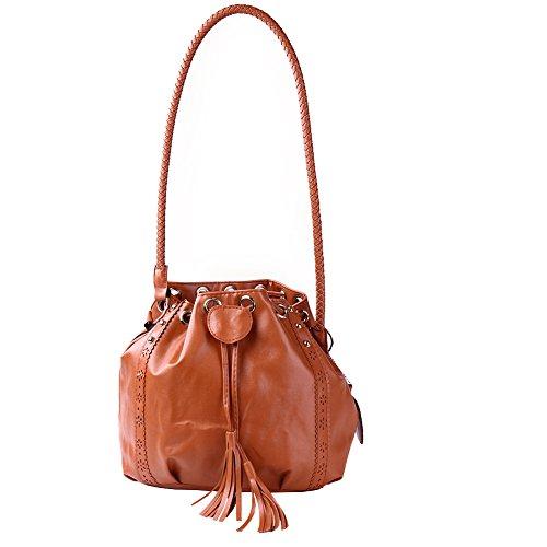 WTUS Damen Neue Frau Messenger Bag Personalisierten Mode Handtaschen PU-Schulterbeutel Wannenbeutel Gezeiten Kühlen Beuteltote Braun