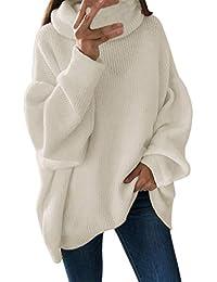 ebe1cdddc1541b GreatestPAK Damen Rollkragenpullover Lange Ärmel Einfarbig Lose Pullover  Sweatshirts Oberteile