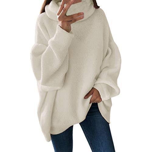 GreatestPAK Damen Rollkragenpullover Lange Ärmel Einfarbig Lose Pullover Sweatshirts Oberteile, Weiß,XL