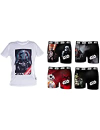 Lot 4 Boxers Microfibre Avec Tee Shirt Licence Star Wars