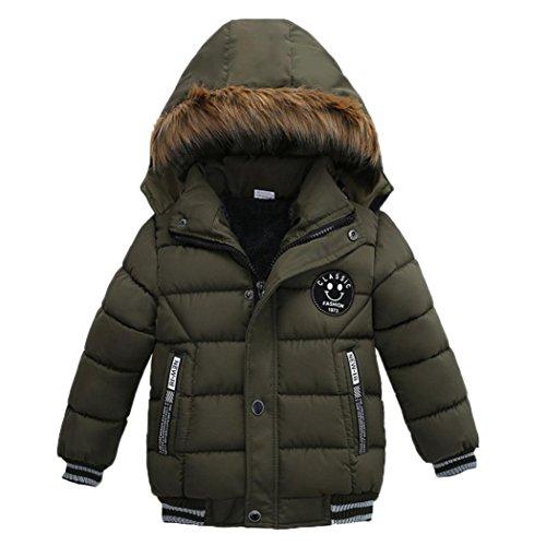 VENMO Mode Kinder Mantel Mädchen Dicke Kleidung Gepolsterte Winterjacke Daunenjacke Jungen Jacke Daunenjacken mit Kapuze Ultraleichte Wattierte Steppjacke Strickjacke Daunenmantel (4T, Green) - Jungen Jacke 4t Leder