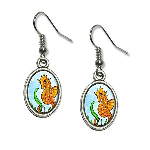 Graphics and More Seepferdchen Seepferdchen Gelb – Ovaler Charm-Ohrringe