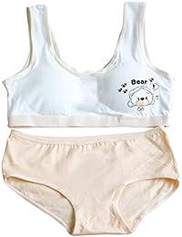 0bc1794773869 BOBORA Teens Girls Kids Sportswear Cotton Vest Bra with Breathable  Underwear Panty Set for 8-