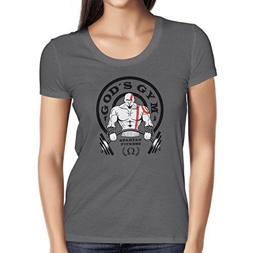 TEXLAB - God's Gym Spartan Gym - Damen T-Shirt, Größe M, grau