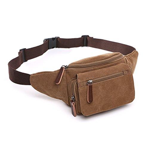 Outreo Herren Hüfttaschen Reisetaschen Gürteltasche Vintage Bauchtasche Geldbeutel Brusttasche Sporttasche Trinkgürtel Kleine Tasche Canvas Outdoor Sport Bag