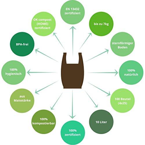 Planet Bamboo: Kompostierbare Bio-Müllbeutel (7 bis 10 L mit Tragegriff | 100 Stück | Braun) 100% kompostierbar nach EN 13432 - 5