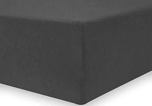 DecoKing 17616 80x200-90x200 cm Spannbettlaken Graphit 100% Baumwolle Jersey Boxspringbett Spannbetttuch Bettlaken Betttuch dimgray Amber Collection - 4