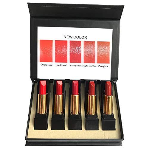 5PCS Matte Lippenstift Set Moisturizer Glatte Lip Stick Wasserdichte Lippenstift Pro Lippen Make Up Velvet Lip Gloss Cosmetic Geschenk Kit für Mädchen Frauen -