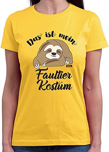 HARIZ  Damen T-Shirt Rundhals Das Ist Mein Faultier Kostüm Karneval Verkleidung Plus Geschenkkarte Gold Gelb M