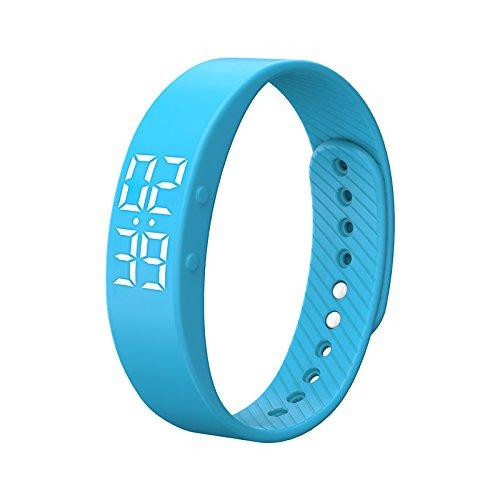 Businda T5S Smart Armband Uhr mit vibrierender Echtzeit Zeigen Wasserdicht Smart Armband LED-Bildschirm Fitness Tracker Sport Sleep Smart Watch Blau
