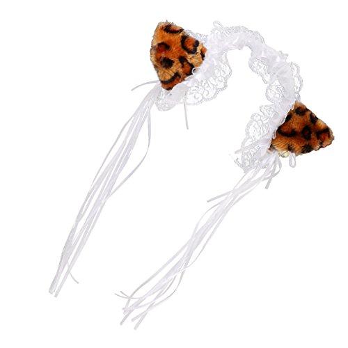 MagiDeal Halloween Lolita Spitze Katze Ohr Stirnband Kostüm Mädchen Hen Nacht Party - Leopard (Halloween-kostüme Leopard)