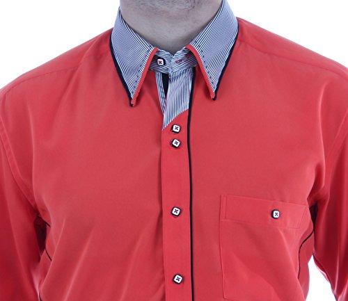 Designerhemd in Orange, für Herren BESTE QUALITÄT, HK Mandel Freizeithemd Kurzarm Normal Nicht Tailliert, 2016 Orange