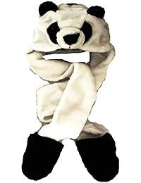 VIZ Bonnet de trappeur en fausse fourrure animal tête pour enfant capuche écharpe snood Gants Ours Panda