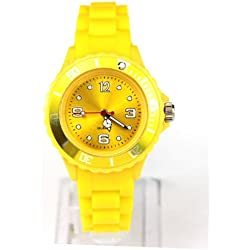 AccessoriesBySej 24 Colours - SMALL YELLOW 33mm CHILDREN'S KIDS GIRLS BOYS LADIES WOMENS SMALL 33mm QUARTZ SILICON /RUBBER STYLE JELLY SPORT WRIST WATCHES UNISEX DATE