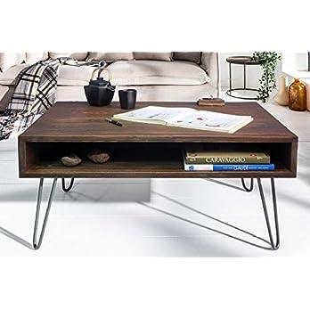 Couchtisch 80 x 80 x 45 cm Massivholz Sofatisch Retro   Design Nierentisch Holz/Metall   Holztisch Wohnzimmertisch massiv   Massivholztisch Kaffeetisch   Tisch Wohnzimmer
