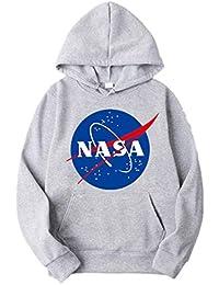 ZBSPORT Hombre Unisex Sudaderas con Capucha NASA Impreso Arte Suéter Cuello Redondo de Mangas Largas (