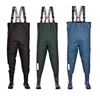 3Kamido Fishing Youth Teens Chest Waders, durable suspenders, fishing boots, junior waders BLACK and GREEN, 3,5 UK, 4 UK, 5 UK, 6 UK, Solid sole, Bag for storage and carrying. (Blue, 3.5 UK - 36EU)