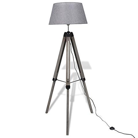 Festnight Verstellbare Stativlampe Stativ-Stehlampe Stehleuchte Holzstativ mit Stoffschirm