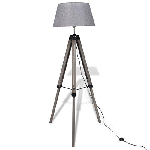 Festnight Verstellbare Stativlampe Stativ-Stehlampe Stehleuchte Holzstativ mit Stoffschirm Grau - Stativ Stehlampe