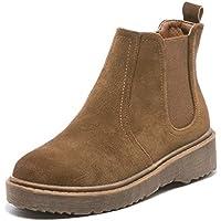 LIANGXIE Botas de Tobillo de Mujer Botas de Ante de Gamuza Retro Botines de Chelsea de Felpa Zapatos de Mujer de Cabeza Redonda Baja Casual (Color : Marrón, tamaño : 37)