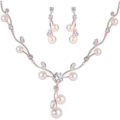 EleQueen Orecchini delle donne zirconi simulate fiore della perla sposa collana di monili di colore avorio