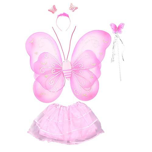 Halloween Ball anzeigen Kostüme Kinder Fee Schmetterlings-Flügel-Rock-kreative reizende Mädchen-Schmetterlings-Fee-Flügel Kostüm für Mädchen 4PCS Rosa