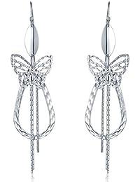 Plata de Ley 925Diamante Corte Mariposa Lágrima borla de gancho pendientes joyas regalo para mujer chica