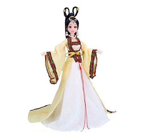 (Chinesische alte Kostüm Prinzessin / Göttin Spielzeug Menschen Puppe Mädchen Dressup-Gelb)