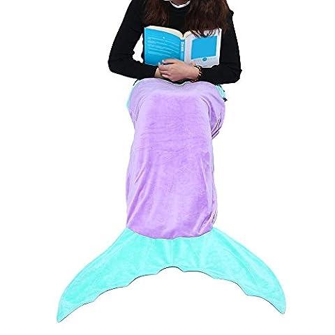 Mermaid Blanket 3-12 Years Old Gifts Mermaid Tail Blanket for Kids Camping Youth Fleece Sleeping Bag, Purple and Green,niceEshop(TM)