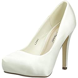 Spot On Satin 'Wedding', Damen Pumps, Weiß (Off-White/Elfenbein), 38 EU (5 UK)