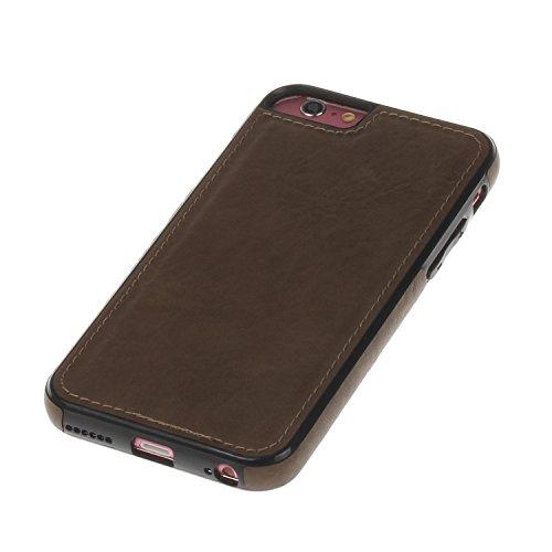 Pelle Custodia Cover per iPhone 6 iPhone 6S 4.7 Case ,Ukayfe Ultra Slim Casa Custodia (back cover) rivestita in pelle pieno per iPhone 6 iPhone 6S 4.7,Protettiva Custodia Luxury Puro Colore Modello cu Marrone 5#