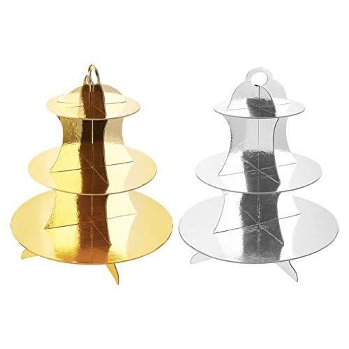 Depory 2er-Pack Cupcake-Ständer aus Pappe - 3-stöckiger Dessertständer Cupcake-Turm - Cupcake-Baum-Display für Babypartys Hochzeiten Geburtstage Gold und Silber 30 x 34 x 30 cm