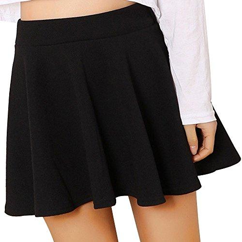 CICIYONER Frauen Minirock Dame Hohe Taille Plain Skater Ausgestelltes Plissee Kurze Shorts Röcke (XXL, Schwarz)